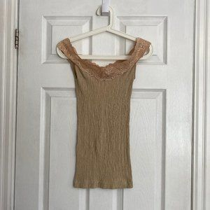 *NWOT* Guess Jeans Gold Lace Tank Top